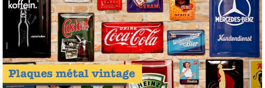 Plaque métal vintage de toutes les marques mythiques Harley, Coca, BMW, combi VW